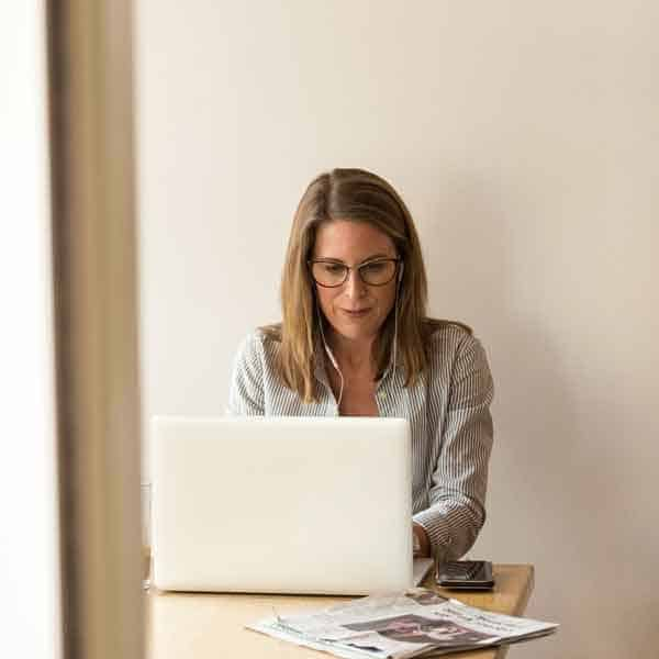 portrait of woman on laptop