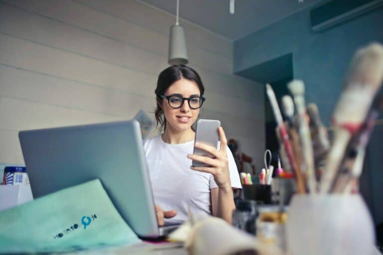Woman on phone signing up for coverage